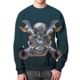 """Свитшот унисекс с полной запечаткой """"Metal Skull"""" - череп, heavy metal, байкер, хардкор, biker skull"""