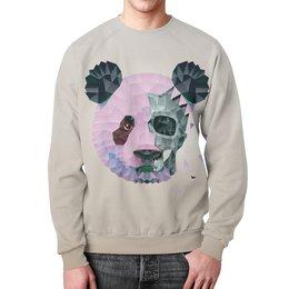 "Свитшот унисекс с полной запечаткой ""Polygonal panda"" - skull, panda, triangle, polygon, makslangedesign"