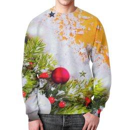 """Свитшот унисекс с полной запечаткой """"Игрушки на елке"""" - праздник, новый год, снег, игрушки, елка"""