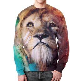"""Свитшот унисекс с полной запечаткой """"Царь зверей"""" - лев, краски, царь зверей, грива"""