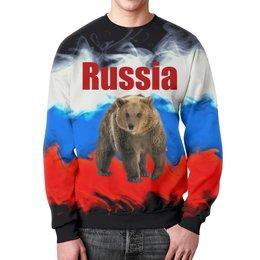 """Свитшот мужской с полной запечаткой """"Russia"""" - животные, медведь, россия, russia, флаг"""