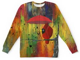"""Свитшот унисекс с полной запечаткой """"На ветке под зонтом"""" - птица кардинал, дождь, птица с зонтом, свитер с рисунком, абстрактный"""
