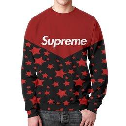 """Свитшот унисекс с полной запечаткой """"Supreme"""" - supreme, надписи, полосы, суприм, звезды"""