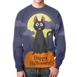 "Свитшот унисекс с полной запечаткой ""Halloween"" - хэллоуин, котик, тыква, мистика"
