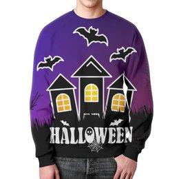 """Свитшот унисекс с полной запечаткой """"Halloween"""" - ужасы, мистика, летучие мыши, дом с привидениями"""