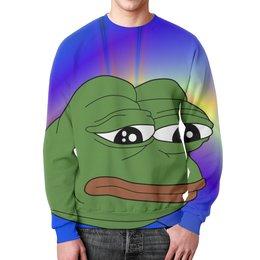 """Свитшот унисекс с полной запечаткой """"SAD FROG"""" - мем, meme, грустная лягушка, sad frog"""