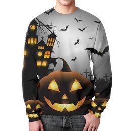 """Свитшот унисекс с полной запечаткой """"Хэллоуинская ночь"""" - крест, тыква, привидения, хэллоуинская ночь, haunted house"""