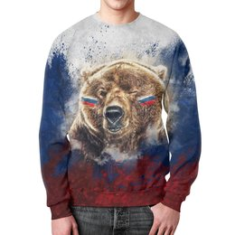 """Свитшот мужской с полной запечаткой """"Русский Медведь"""" - футбол, медведь, россия, флаг, триколор"""