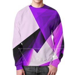 """Свитшот мужской с полной запечаткой """"Абстракция"""" - узор, фиолетовый, графика, абстракция, треугольники"""