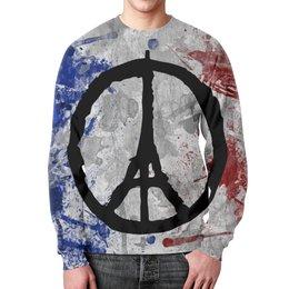 """Свитшот унисекс с полной запечаткой """"Мир Парижу (Peace for Paris)"""" - париж, эйфелева башня, мир парижу, peace for paris, paix pour paris"""