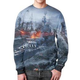 """Свитшот мужской с полной запечаткой """"Корабли"""" - война, море, огонь, самолет, корабль"""