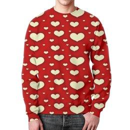 """Свитшот мужской с полной запечаткой """"Сердце"""" - любовь, сердца, день святого валентина, сердечки, я люблю"""