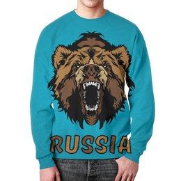 """Свитшот унисекс с полной запечаткой """"Русский Медведь (Russian Bear)"""" - россия, russia"""