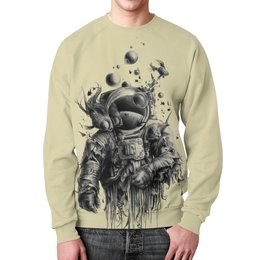 """Свитшот мужской с полной запечаткой """"Неординарный арт"""" - море, рисунок, рыба, водолаз, арт дизайн"""