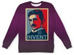 """Свитшот мужской с полной запечаткой """"Никола Тесла, в стиле Obey"""" - плакат, инженер, никола тесла, шаблон, osecp"""