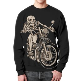 "Свитшот унисекс с полной запечаткой ""Skeleton Biker"" - skeleton, скелет, мотоцикл, байкер, biker"