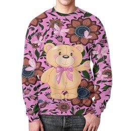 """Свитшот унисекс с полной запечаткой """"Мишка и бабочки"""" - бабочки, цветы, медведь, мишка"""