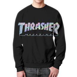 """Свитшот мужской с полной запечаткой """"Thrasher holographic"""" - thrasher, трэшер, свитшот thrasher, holographic"""