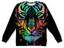 """Свитшот унисекс с полной запечаткой """"Тигр Абстракция"""" - коты, абстракция, тигр"""