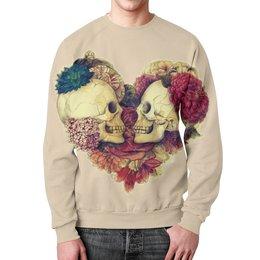 """Свитшот мужской с полной запечаткой """"Skull Art"""" - skull, сердце, heart, цветы, черепа"""