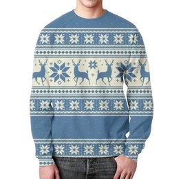 """Свитшот унисекс с полной запечаткой """"Вязаные олени"""" - новый год, зима, олени, вязаный паттерн, вязаный свитер"""