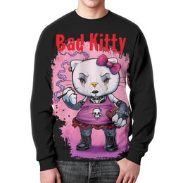 "Свитшот унисекс с полной запечаткой ""Bad Kitty"" - готика, кошка, hello kitty, хелло китти, bad kitty"