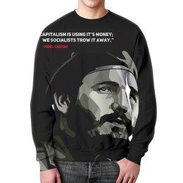 """Свитшот мужской с полной запечаткой """"Фидель Кастро"""" - поп арт, революция, че гевара, куба, сигара"""