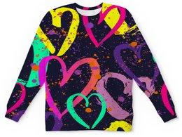 """Свитшот унисекс с полной запечаткой """"Сердечки"""" - узор, день валентина, любовь, сердечки, сердце"""