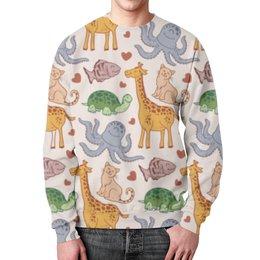 """Свитшот унисекс с полной запечаткой """"Зверинец """" - кошки, коты, жираф, осьминог, черепаха"""