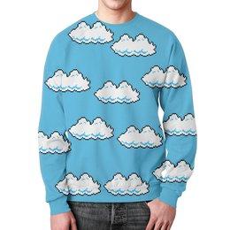 "Свитшот унисекс с полной запечаткой ""Облака 8 bit"" - облака, 8 bit, 8 бит, mario"
