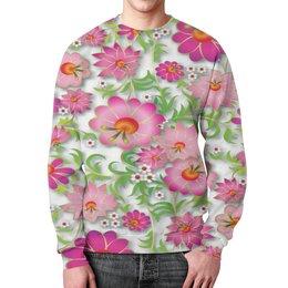 """Свитшот унисекс с полной запечаткой """"Розовые цветы"""" - цветы, весна, розовый, узор, цветочки"""