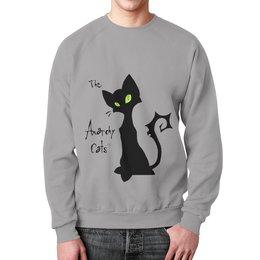 "Свитшот унисекс с полной запечаткой ""Кот-анархист"" - кот, юмор, рисунок, графика, анархист"