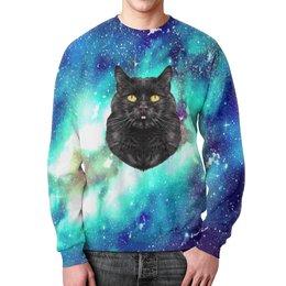 """Свитшот мужской с полной запечаткой """"Кот в космосе"""" - кот, звезды, котенок, космос, коты в космосе"""