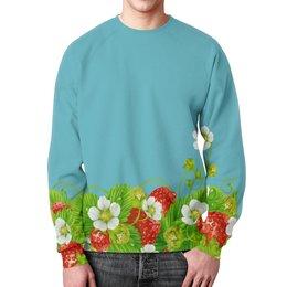 """Свитшот мужской с полной запечаткой """"Земляничная поляна"""" - лето, цветы, ягоды, земляника"""