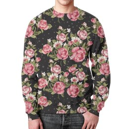 """Свитшот мужской с полной запечаткой """"Розовый букет"""" - цветы, розы, букет"""