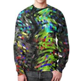 """Свитшот унисекс с полной запечаткой """"Контраст-мозаика"""" - полосы, волны, пиксель, пиксели, контраст"""