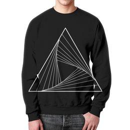 """Свитшот унисекс с полной запечаткой """"Свитшот с белым треугольником """" - космос, треугольник, этника, геометрия, воронка"""