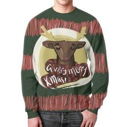 """Свитшот унисекс с полной запечаткой """"A very merry X-Mas"""" - подарок, рождество, олень, deer, merry christmas"""
