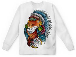 """Свитшот унисекс с полной запечаткой """"MoonFox"""" - арт, лиса, индеец, шаман"""
