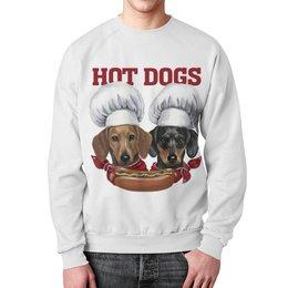 "Свитшот унисекс с полной запечаткой ""Wiener Cooks"" - такса, повар, hot dog, dachshund"