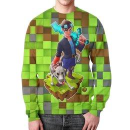 """Свитшот мужской с полной запечаткой """"Minecraft"""" - компьютерные игры, майнкрафт, приключение, собачникам, игроманам"""