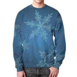 """Свитшот мужской с полной запечаткой """"Снежинки """" - новый год, зима, снег, природа, рождество"""