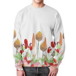 """Свитшот мужской с полной запечаткой """"осенний букет"""" - цветы, осень"""