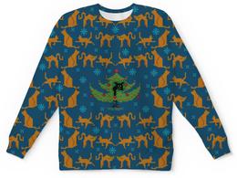 """Свитшот унисекс с полной запечаткой """"Котосвитер"""" - кот, новый год, свитер, елка"""