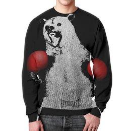 """Свитшот унисекс с полной запечаткой """"Медведь Боксёр"""" - медведь, бокс, боксёр, спорт"""