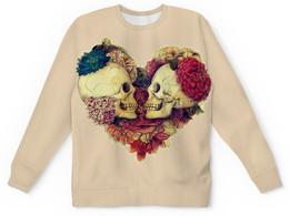 """Свитшот унисекс с полной запечаткой """"Skull Art"""" - skull, heart, сердце, черепа, цветы"""