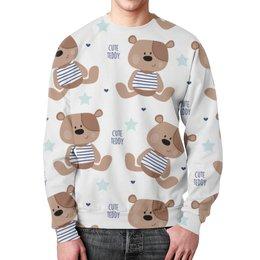 """Свитшот мужской с полной запечаткой """"Cute Teddy"""" - мишка, тедди, teddy, мишка тедди"""
