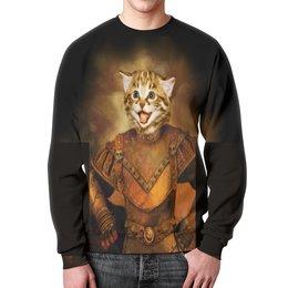 """Свитшот унисекс с полной запечаткой """"котик в рыцарских доспехах."""" - кот, животное, доспехи, кот рыцарь"""
