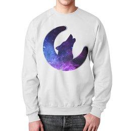 """Свитшот мужской с полной запечаткой """"Space animals"""" - звезды, космос, луна, вселенная, wolf"""