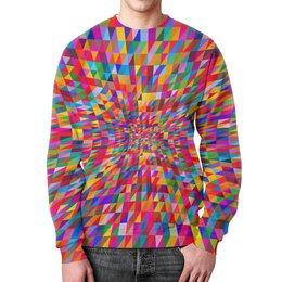 """Свитшот мужской с полной запечаткой """"Абстракция треугольники"""" - графика, краски, абстракция, цветные, треугольники"""